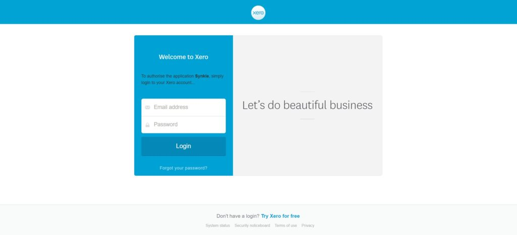 6. Xero Login Screen