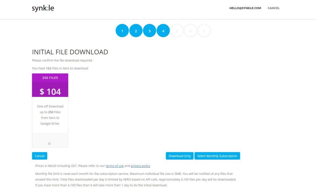 8. Initial download confirmation
