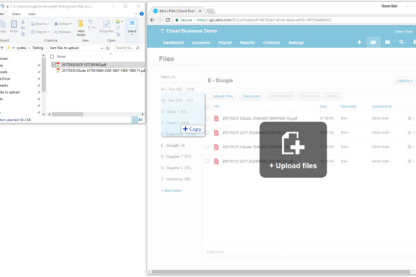 File drag and drop into Xero