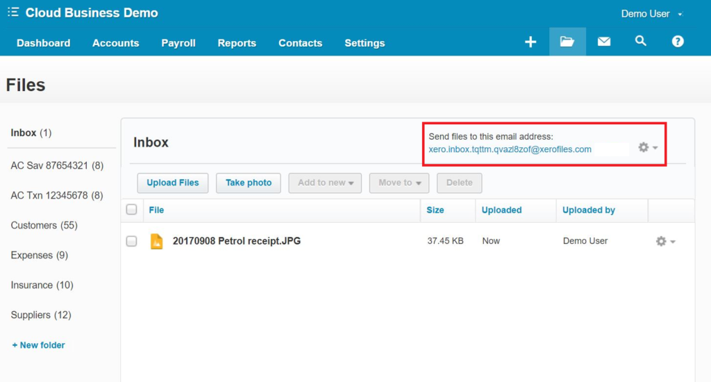 Xero Files Library Email Address