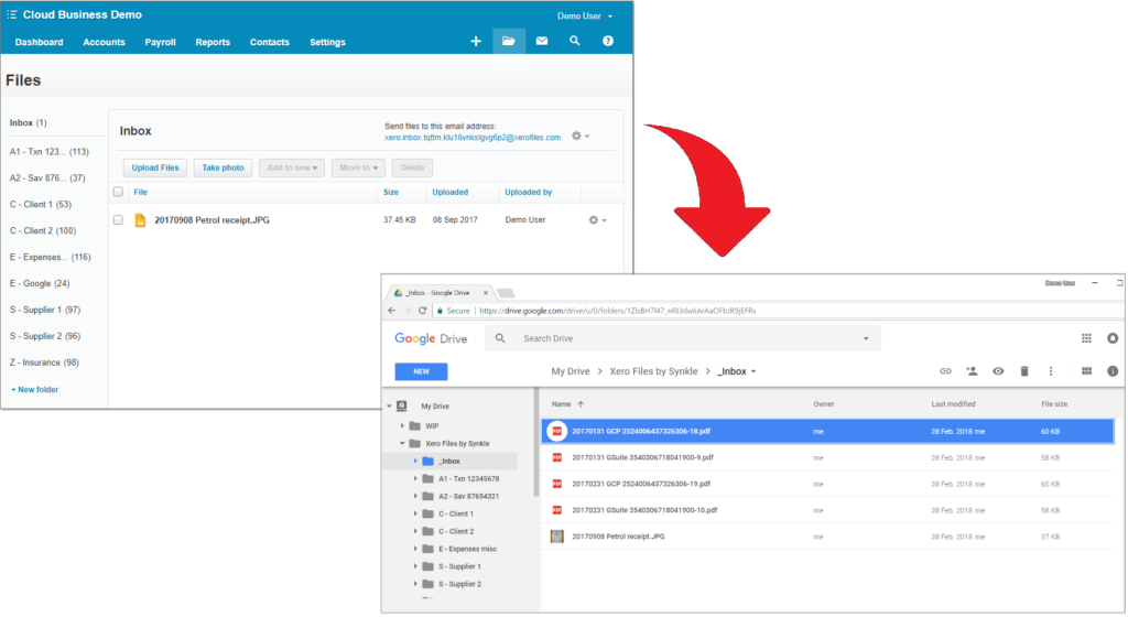 Xero to Google Screen shot
