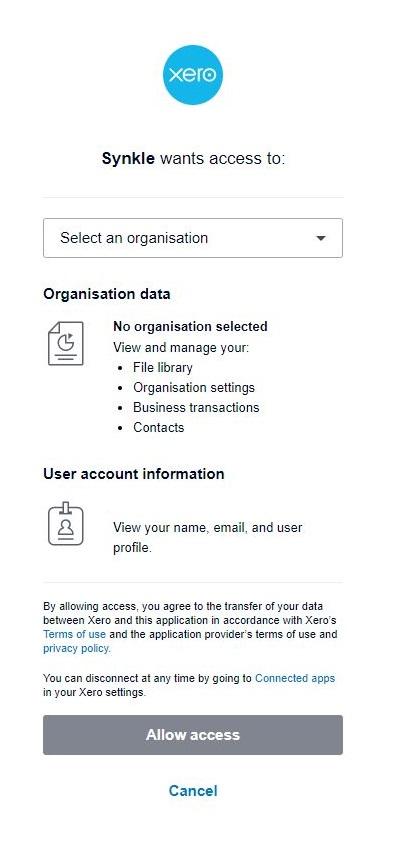 Step 3 Select Xero Organisation